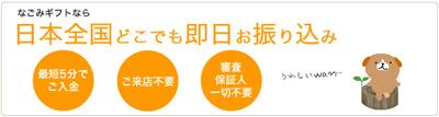 なごみギフトなら日本全国どこでもお振込みでうれしいWAN!