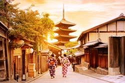 京都から見る夕日の景色