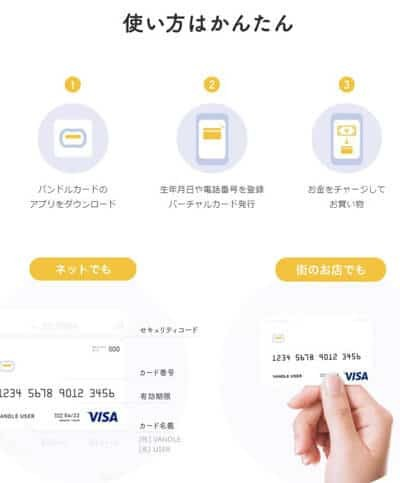 バンドルカードアプリ登録でVISAのカード番号を発行してもらえるサービス